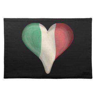 Italian Flag In A Heart Place Mats