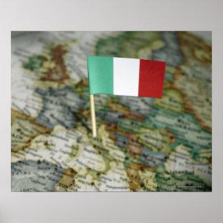 Italian flag in map poster