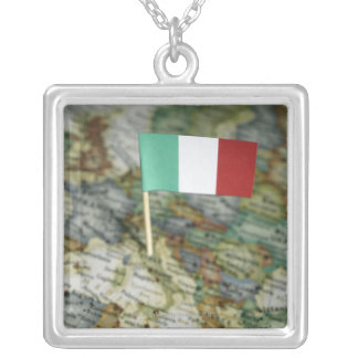 Italian flag in map silver plated necklace