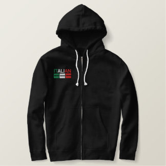 Italian-Flag of Italy Embroidered Hoodie