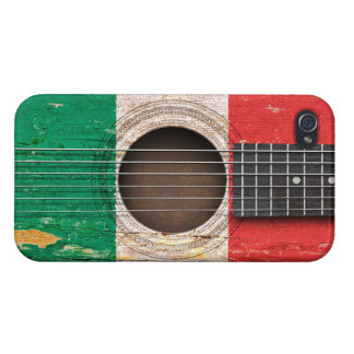 Italian Flag on Old Acoustic Guitar iPhone 4/4S Cases