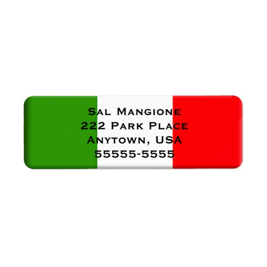 Italian Flag Return Address Label Template