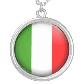 Italian  flag round pendant necklace