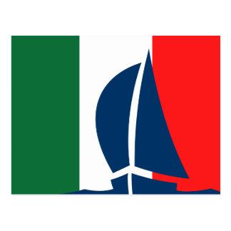 Italian Flag Sailing Boat Italy Nautical Postcards