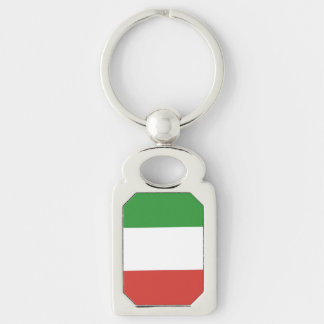 Italian Flag Silver-Colored Rectangle Key Ring