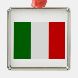 Italian Flag Silver-Colored Square Decoration