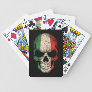 Italian Flag Skull on Black Bicycle Playing Cards