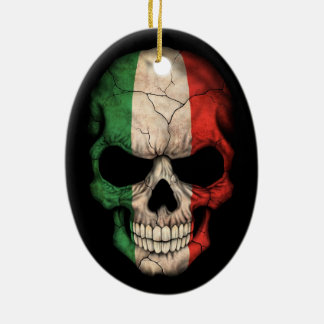Italian Flag Skull on Black Christmas Ornament