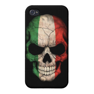 Italian Flag Skull on Black iPhone 4/4S Cases