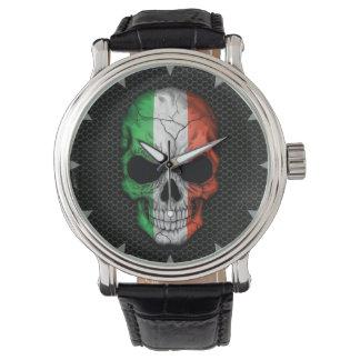 Italian Flag Skull on Steel Mesh Graphic Watch