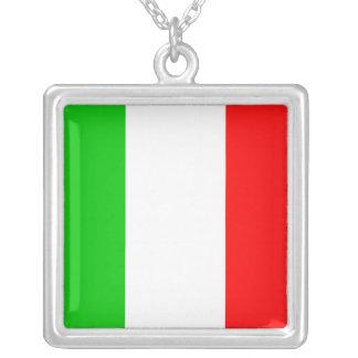 Italian Flag Square Pendant Necklace