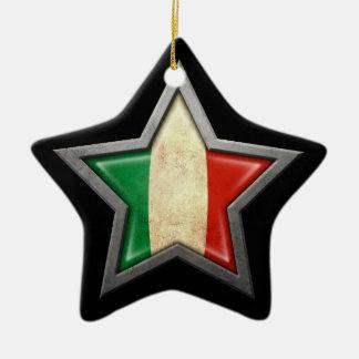 Italian Flag Star on Black Christmas Ornament