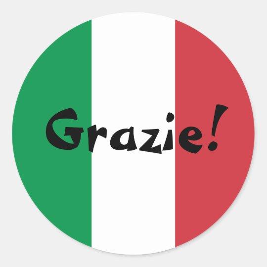 Italian Flag Thank You Grazie! Classic Round Sticker