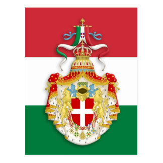 Italian Flag with insignia of the Kingdom of Italy Postcard