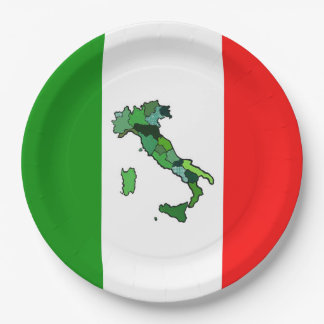Italian Flag with Map of Italy Paper Plate