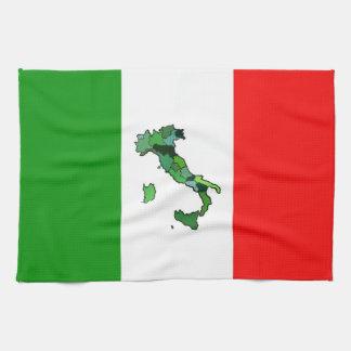 Italian Flag with Map of Italy Tea Towel