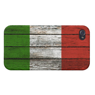 Italian Flag with Rough Wood Grain Effect Case For The iPhone 4