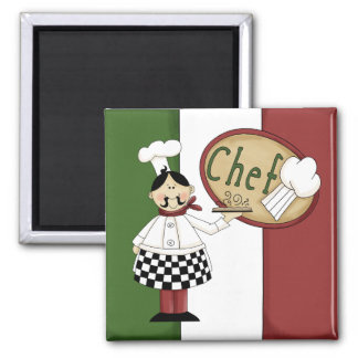 Italian Food Chef Square Magnet