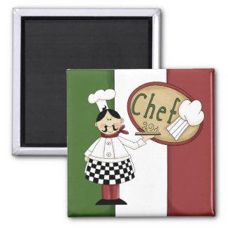 Italian Food Chef Square Magnet