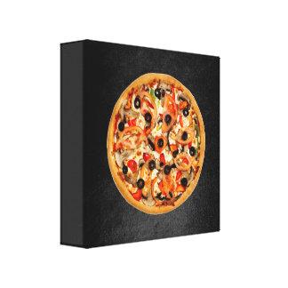 Italian Food Pizza Black Backround Canvas Print