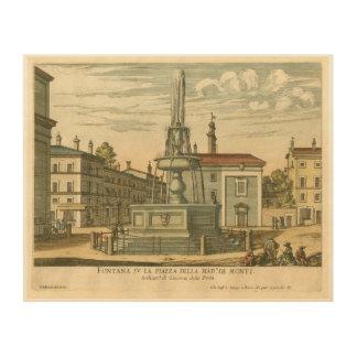 Italian Fountain in Town Square by Falda Wood Print
