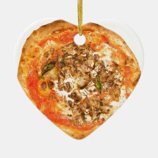 Italian Funghi Mushroom Pizza Traditional Food Ceramic Heart Decoration