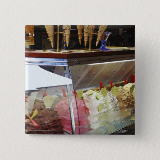 Italian gelato in display case 15 cm square badge