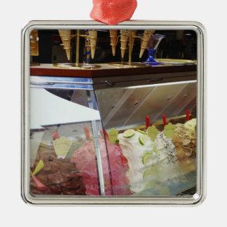 Italian gelato in display case christmas ornament