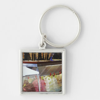 Italian gelato in display case key ring
