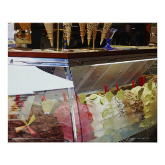 Italian gelato in display case poster