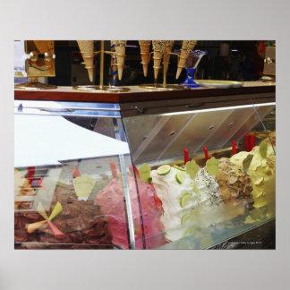 Italian gelato in display case poster