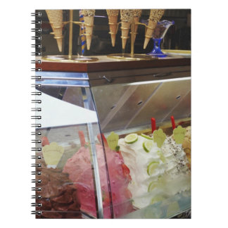 Italian gelato in display case spiral notebook