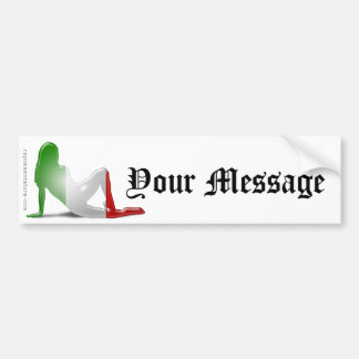 Italian Girl Silhouette Flag Bumper Sticker