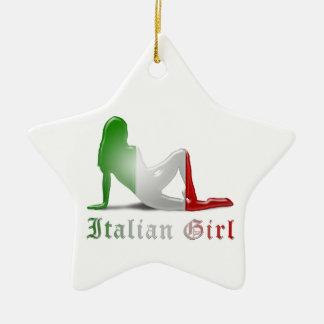 Italian Girl Silhouette Flag Christmas Ornament