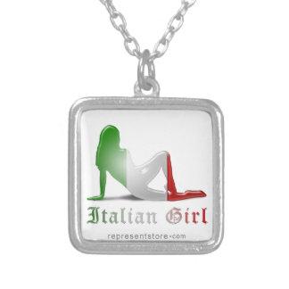 Italian Girl Silhouette Flag Necklace