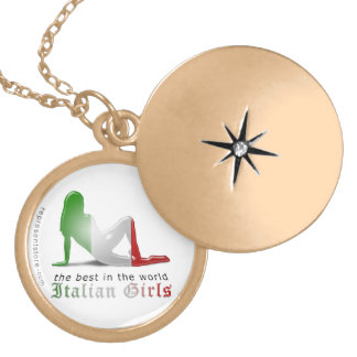 Italian Girl Silhouette Flag Personalized Necklace