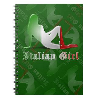 Italian Girl Silhouette Flag Notebooks