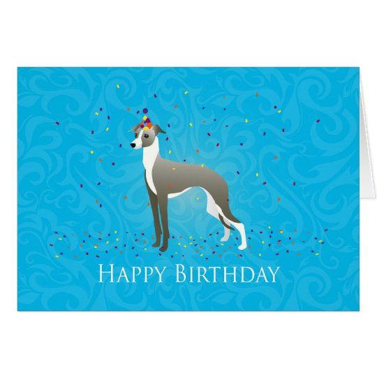 Italian Greyhound Birthday Design Card