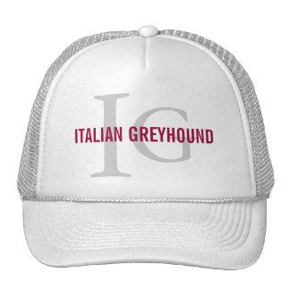 Italian Greyhound Breed Monogram Trucker Hats