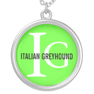 Italian Greyhound Breed Monogram Silver Plated Necklace