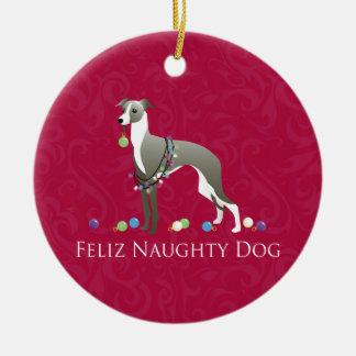 Italian Greyhound Christmas Design Round Ceramic Decoration