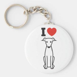 Italian Greyhound Dog Cartoon Key Ring