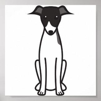 Italian Greyhound Dog Cartoon Poster