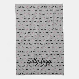 Italian Greyhound Dog Kitchen Tea Towel, Blue Tea Towel