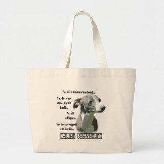 Italian Greyhound FAQ Large Tote Bag