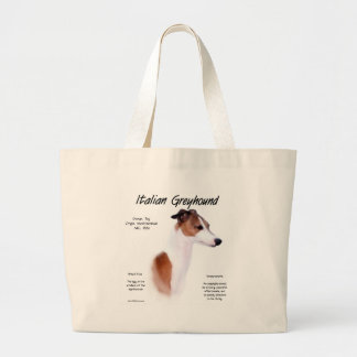 Italian Greyhound History Design Large Tote Bag