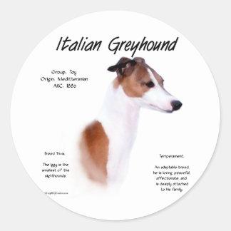 Italian Greyhound History Design Round Sticker