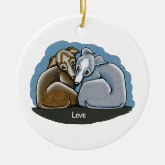 Italian Greyhound Huddle Round Ceramic Decoration