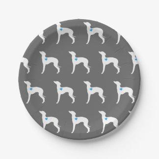 Italian Greyhound Plate with Blue Heart