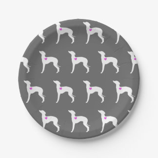 Italian Greyhound Plate with Pink Heart